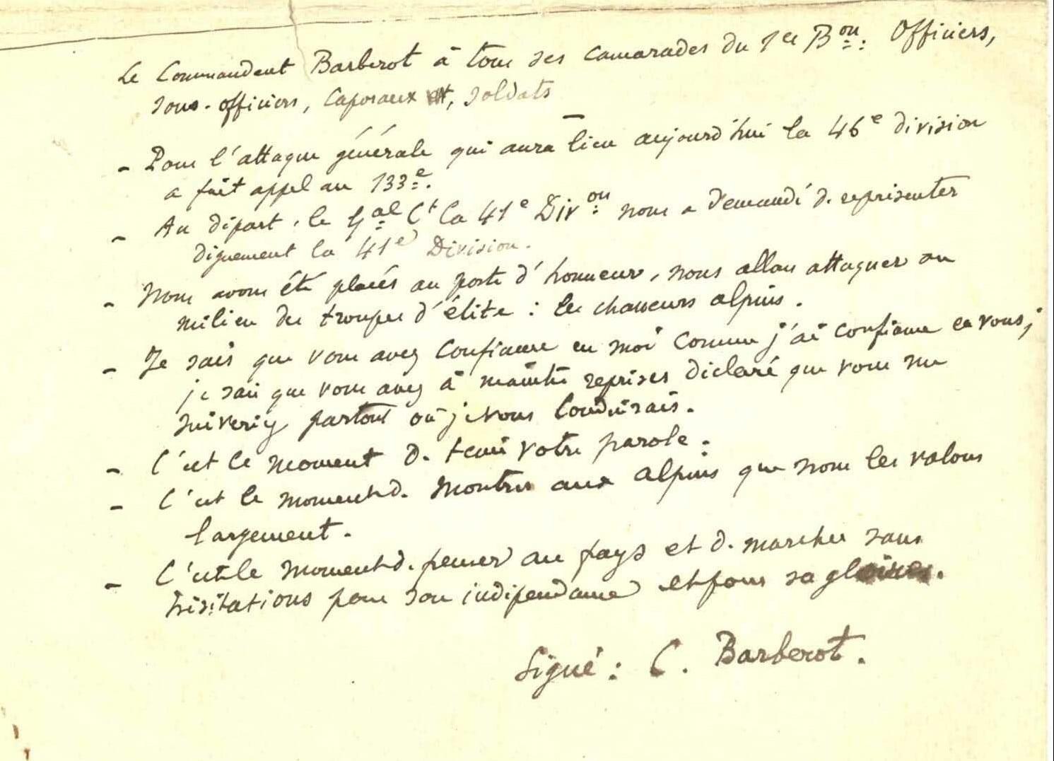 Ordre Attaque Commandant Barberot cote 830