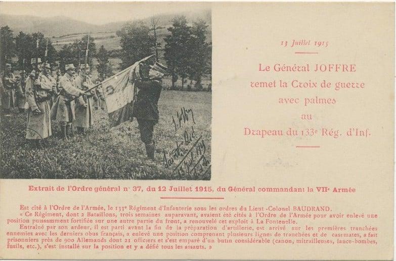 decoration du drapeau du 133e RI par Joffre