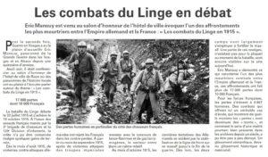 Conférence le Linge Vosges Matin
